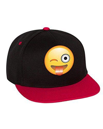 Allntrends Flat Bill Cap Winking Emoji Hat Emoji Hat Flat Bill Cap Flat Bill Hats