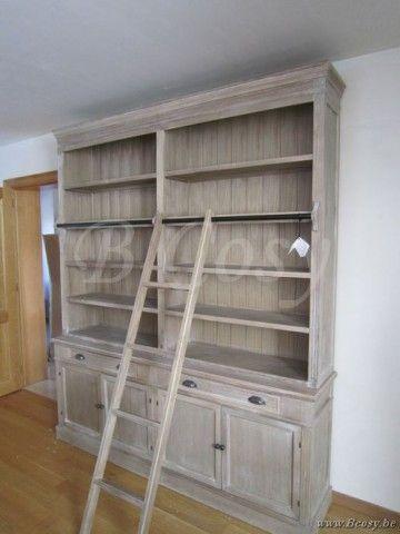 Verrassend J-Line Bibliotheekkast landelijke stijl met ladder en zwart stalen OM-12