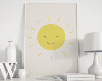 DIGITAL DOWNLOAD Yellow Nursery Decor Yellow Sunshine Designs Kids Wall Art Yellow Sunshine Wall Art Sun Art Instant Download Wall Art