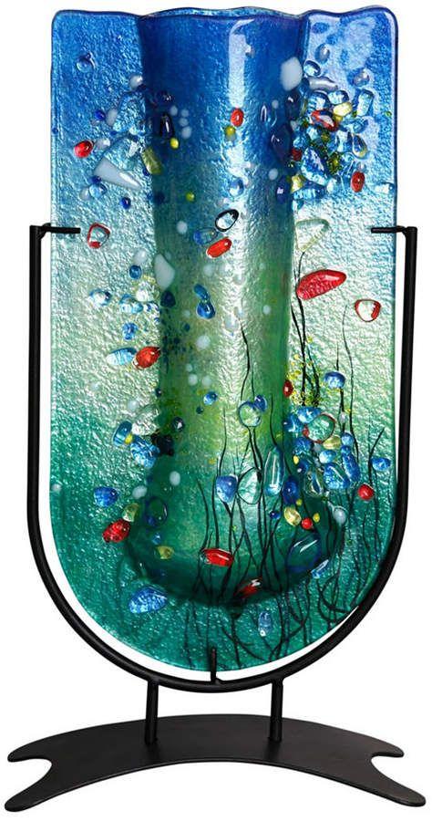 American Pacific Inc 14 5 X 7 5 Tall U Vase Fused Glass Glass Art Projects Glass Wall Vase Fused Glass