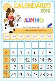 Calendarios 2019 Calendarios Infantis Atividades De
