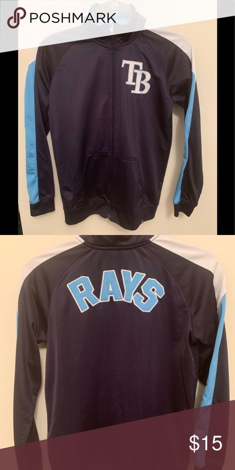 Tampa Bay Rays Jacket Tampa Bay Rays Lightweight Jacket Unlined Very Lightweight And Comfortable Polyester Size Medium But With Images Sweatshirts Hoodie Tampa Bay Rays