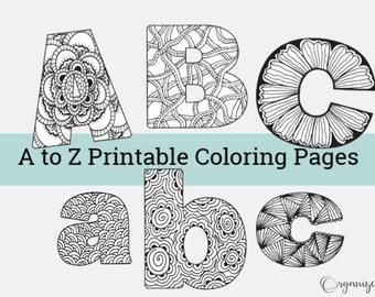 Alphabet Coloring Pages Zentangle Coloring Book For Adults Etsy Alphabet Coloring Pages Printable Coloring Book Coloring Books