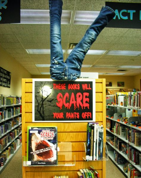 """For elementary, could do """"will these books scare your pants off?"""" Use nonfiction scary animal books, etc"""
