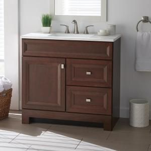 Home Decorators Collection Sedgewood 36 1 2 In W Bath Vanity In Dark Cognac With Solid Surface Technology Vanity Top In Arctic With White Sink Pplnkdcg36d Th Vanity White Sink Bath Vanities