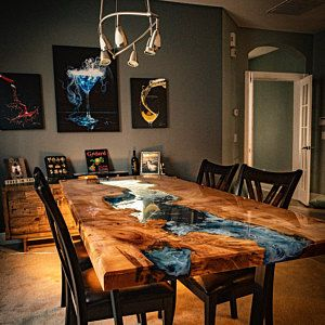 Maple Burl Resin River Dining Table In 2020 Wood Table Design