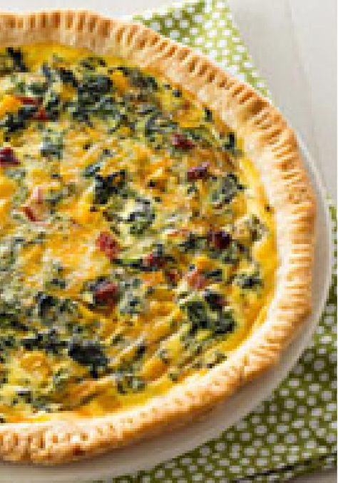 Vegetarian Quiche – Here's a great quiche for the veggie lovers in your home—made with chopped spinach, peppers and sun-dried tomatoes.