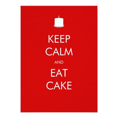 Keep Calm Eat Cake 90th Birthday Invitation