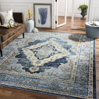 Safavieh Crystal Blue Yellow Area Rug 8 X 10 Yellow Area