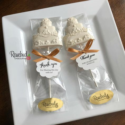 """12 WEDDING CAKE Chocolate Lollipop Favors Bridal Shower Birthday Anniversary Party Candy Personalized Custom Scallop """"Thank You"""" Tags"""