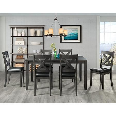 Alexa 7 Piece Dining Set Choose Height Color In 2020 Solid