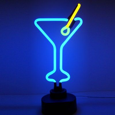 Brayden Studio Guitierrez Martini Glass Tabletop Neon Sign Wayfair In 2020 Neon Sculpture Bar Lighting Neon Signs