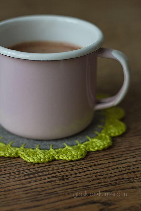 glasklar  kunterbunt: Häkelborte - Crochet Edge Coaster Tutorial