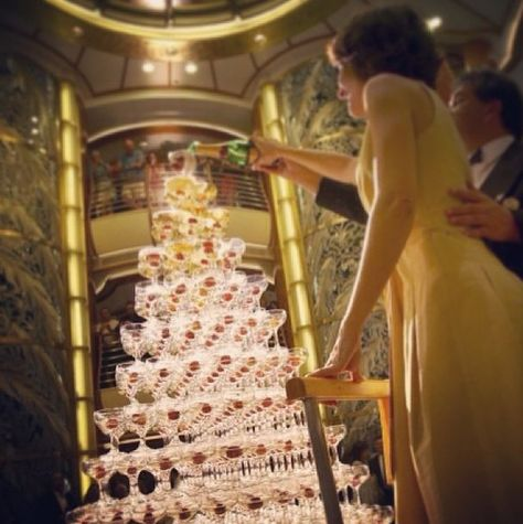 Pour the bubbly atop the Champagne Waterfall at the Captain's Welcome Aboard Party. #princess #bucketlist
