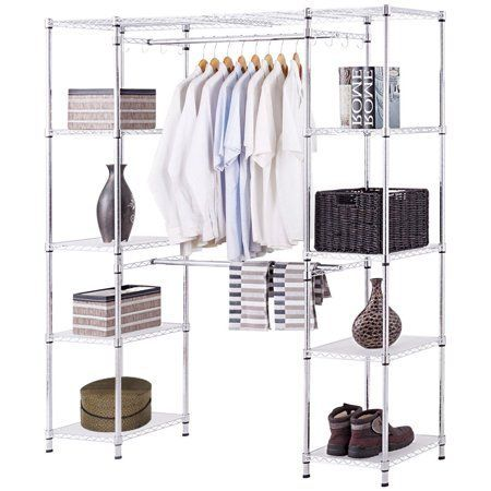 Gymax Expandable Closet Organizer Free Standing Clothes Hanger