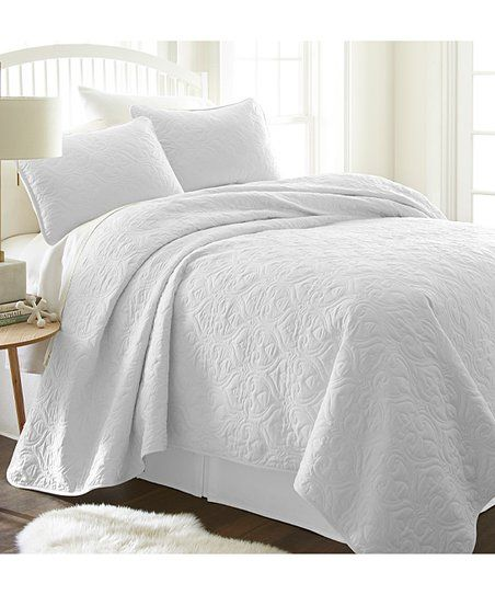 Ienjoy Home White Damask Quilted Coverlet Set Zulily Coverlet Set Quilted Coverlet Coverlets