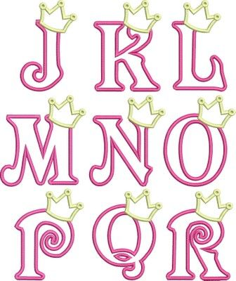 Princess Crown Applique Font - DigiStitches
