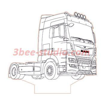 Man Tgx Truck 3d Illusion Lamp Plan Vector File For Laser And Cnc 3bee Studio Fahrzeuge Zeichnen Man Tgx