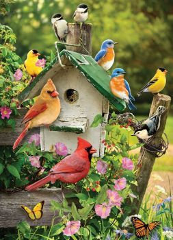 Sunsout Birdfeeder Bliss by Artist Jane Maday 500 Piece Jigsaw Puzzle Sunsout Puzzles