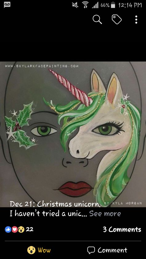 Don't think I could do this one, but gosh it's pretty!!! Christmas unicorn face paint