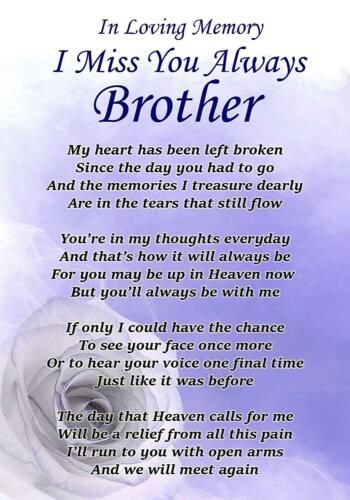 I Miss You Always Brother Memorial Graveside Poem Card Free Ground Stake F329 Ebay My Brother Quotes Miss You Brother Quotes Brother Birthday Quotes