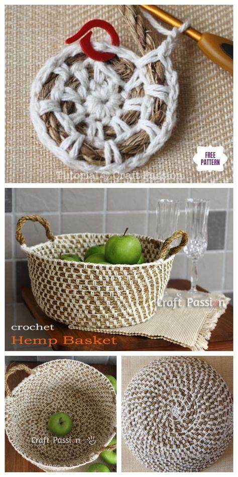 - Baskets and Boxes - Crochet Hemp Rope Basket Free Pattern Crochet Hemp Rope Basket Free Crochet Patterns. Crochet Simple, Crochet Diy, Crochet Home, Crochet Crafts, Crochet Rugs, Diy Crochet Rope Basket, Crochet Basket Pattern, Knit Basket, Basket Weaving