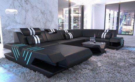 Design Leather Sofa Beverly Hills U Shape White Sectional Sofa