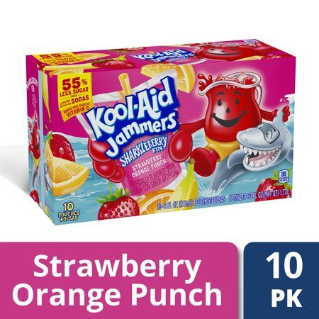 Kool Aid Jammers Sharkleberry Fin Strawberry Orange Punch Artificially Flavored Soft Drink 10 Ct Box 6 Fl Oz Pouches Walmart Com In 2021 Flavored Drinks Orange Punch Kool Aid