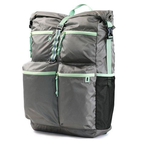 Minimalist Travel Pack - Lightweight, Machine Washable - Cool Gray/Mint Green