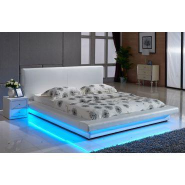 Zen White Bed With Led Lights Leather Platform Bed Bed With Led Lights White Platform Bed