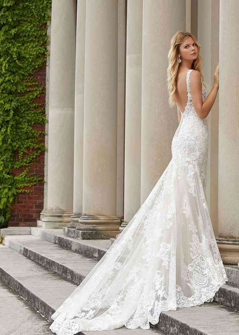 Lace wedding dress with train and open-back - Style 1059 by Martina Liana. Love this Martina Liana gown? Learn more about it and where to find it on WeddingWire! Buy Wedding Dress, Wedding Dresses Photos, Dream Wedding Dresses, Bridal Dresses, Wedding Pictures, Wedding Dresses Tight Fitted, Wedding Gowns, Camo Prom Dresses, Green Bridesmaid Dresses