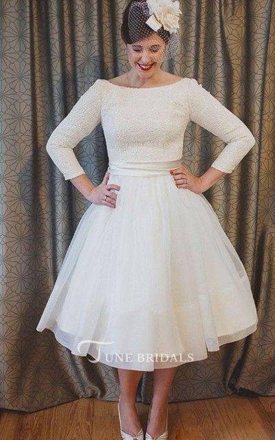 Plus Size Tea Length Lace And Organza Wedding Dresses With 3 4 Long Sleeves Wedding Dress Organza Short Wedding Dress Vintage Inspired Wedding Gown
