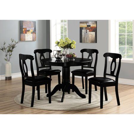 Angel Line 5 Piece Lindsey Dining Set Black Walmart Com Black Dining Room Black Dining Set Black Dining Room Furniture