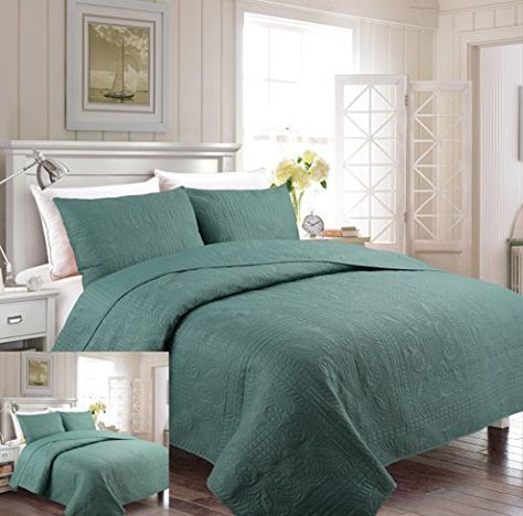 Cozy Beddings S1604-1Q Allyson 3Pc Quilted Bedspread Ivory Coverlet,Ivory,Queen