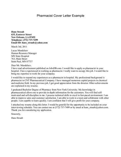 outstanding sample cover letter pharmacist letters for ...