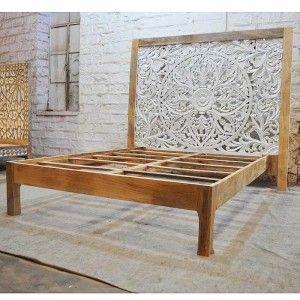 Dynasty Hand Carved Indian Solid Wooden Zara Bed Frame 2 Tone Wooden Outdoor Furniture Bed Frame Carved Beds