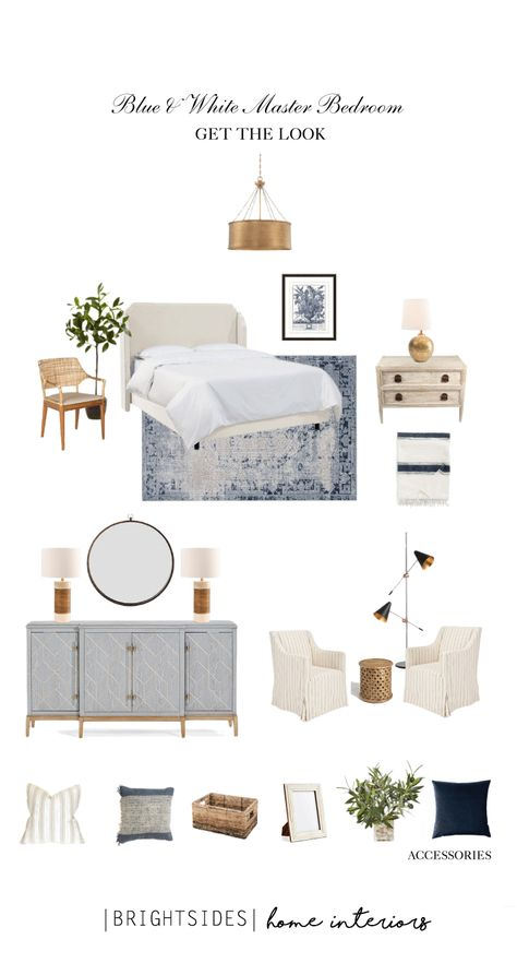 Home Decoration Ideas Living Room Brightsides Home Interiors: Get The Look: Blue & White Hamptons Style Master B.Home Decoration Ideas Living Room Brightsides Home Interiors: Get The Look: Blue & White Hamptons Style Master B. Hamptons Style Bedrooms, Farmhouse Style Bedrooms, Farmhouse Bedroom Decor, Home Bedroom, Coastal Farmhouse, Bedroom Ideas, Coastal Bedrooms, Guest Bedrooms, Coastal Master Bedroom