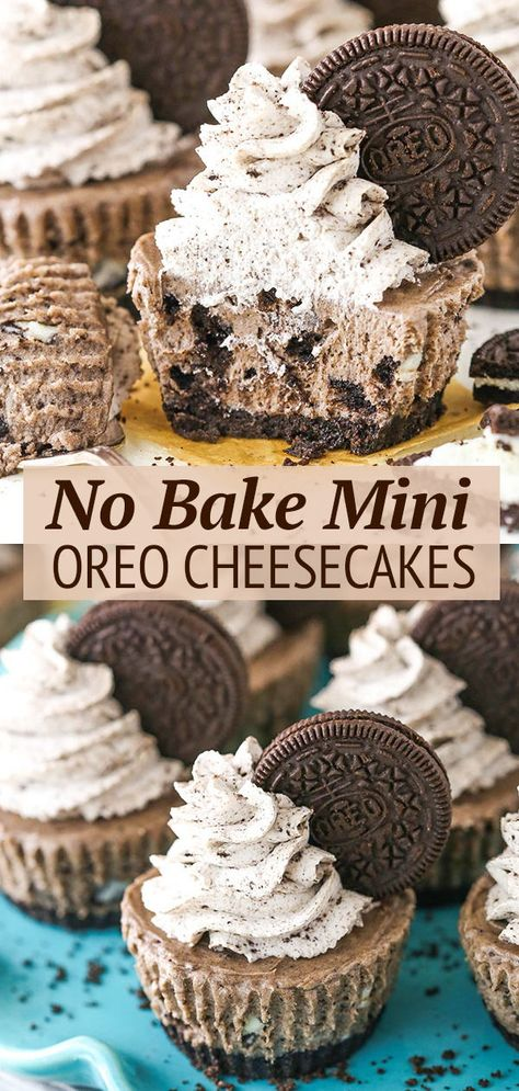Oreo Cheesecake Cupcakes, Oreo Cheesecake Recipes, Mini No Bake Cheesecake, Simple Cheesecake, Cheesecake Strawberries, Cheesecake Bites, Köstliche Desserts, Dessert Recipes, Desserts With Oreos