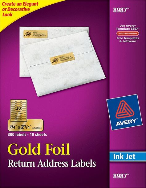 Avery Return Label Template Avery Gold Foil Mailing Labels 8987 Label Templates Return Address Labels Stickers Templates