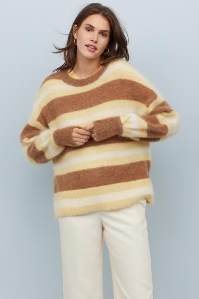stripet merino ull genser dame
