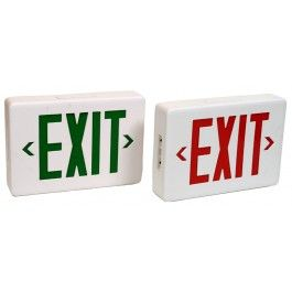 Led Exit Signs With Battery Backup Available In Green Or Red Sign Lighting Emergency Lighting Exit Sign