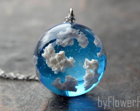 Blue sky necklace Sky cloud necklace Terrarium jewelry Sky j.- Blue sky necklace Sky cloud necklace Terrarium jewelry Sky jewelry Gift under 50 Gift -mature for her Blue sky necklace Sky cloud necklace Terrarium jewelry Sky