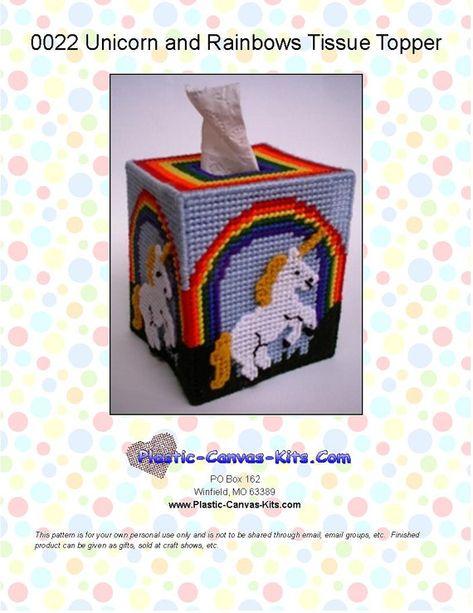 Unicorn and Rainbows Tissue Topper-Plastic Canvas Pattern-PDF