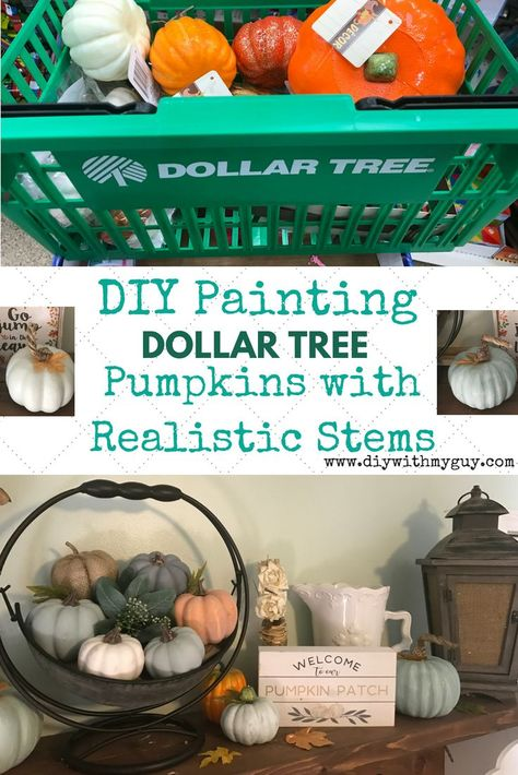 Cheap Fall Decor DIY Farmhouse Pumpkins- Dollar Tree Hack - DIY With My Guy - - Try this easy Dollar Tree Hack to turn cheap pumpkins into Pottery Barn inspired Farmhouse Pumpkins. The most gorgeous cheap fall decor you will find! Dollar Tree Pumpkins, Dollar Tree Fall, Dollar Tree Decor, Dollar Tree Crafts, Dollar Tree Baskets, Dollar Tree Christmas, Holiday Fun, Christmas Ideas, Def Not