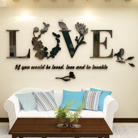 Stylish Removable 3d Leaf Love Wall Sticker Art Vinyl Decals Bedroom Decor Walmart Com Baby Room Wall Decals