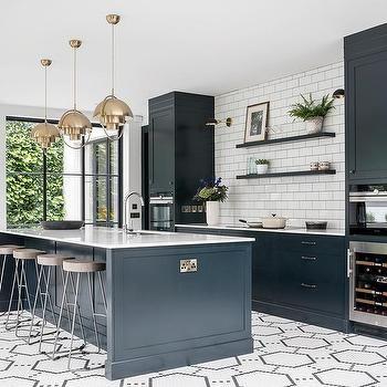 Blue Center Island On Black And White Hexagon Floor Tiles Latest Kitchen Designs Industrial Decor Kitchen Industrial Style Kitchen