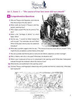 A Midsummer Night S Dream Act 1 Scene 1 Worksheet