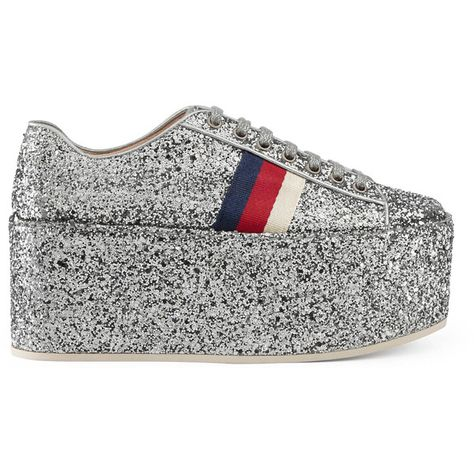 12169f4d0ab Gucci Glitter Platform Sneaker (€795) ❤ liked on Polyvore featuring shoes