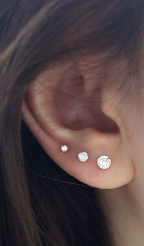 cute crystal ear stud earring ear piercing jewelry ideas for women