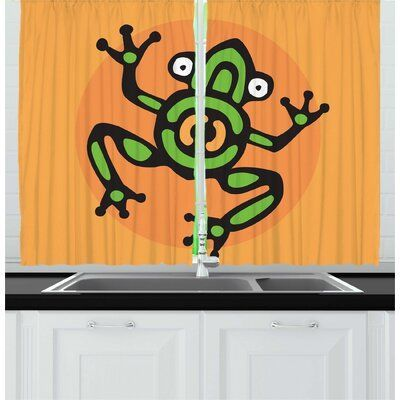 East Urban Home 2 Piece Frogs Aztec Inspired Amphibian Animal Kitchen Curtain Set Wayfair Amphibian Animal Aztec Curtain East Frogs Home Inspired